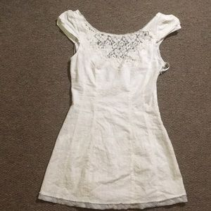 Free People White Embroidered Mini Dress 2 0 XS